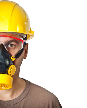 protective goggles: The worker in protective means. The isolated white background