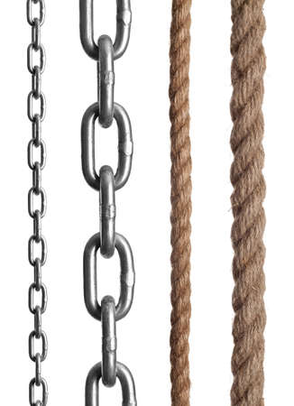 group chain: Fragments of a chain, rope on the isolated white background
