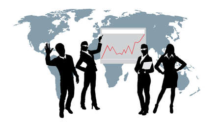 business confidence: Command of young businessmen. The business woman specifies in the schedule Illustration