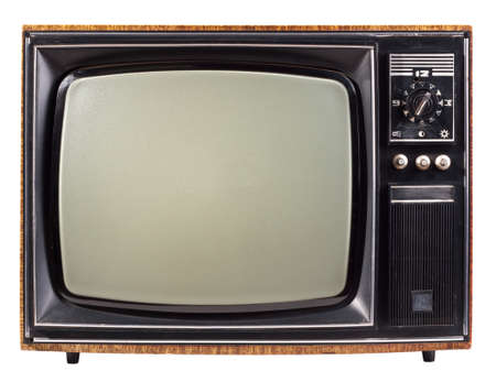 tv retro: The old TV on the isolated white background Stock Photo