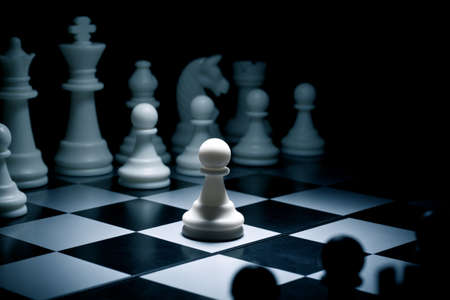 battling: Chess. White go the first. The central figure-pawn