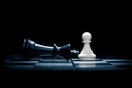 チェスの駒。ポーンと勝たれた王