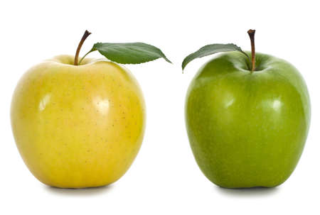 comparison: Apples on the isolated white background Stock Photo