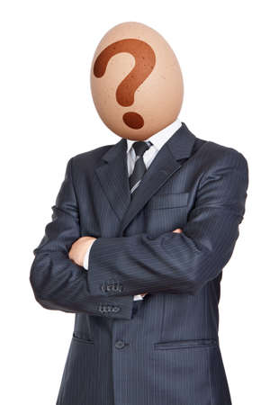 Businessman with Egg Head. Question photo
