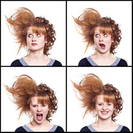grimace: Portrait of the young woman on the isolated white background.Strange hairdress