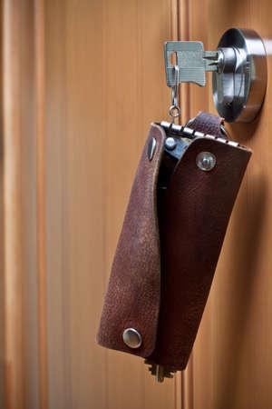 doorlock: Key in the door-lock close up