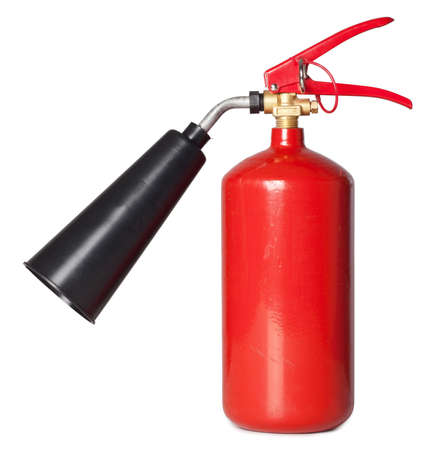The red fire extinguisher on the isolated white background