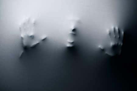Cier: Wizja osoby krzyczy na tkaninÄ™ Zdjęcie Seryjne