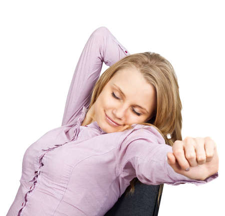 outstretch: The business woman stretches. The isolated white background