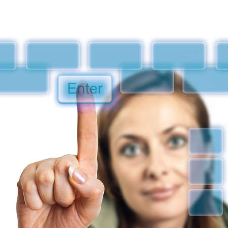 touching: The finger presses the button of the touch screen Stock Photo