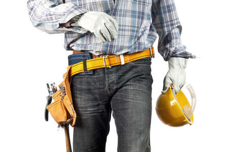 tools belt: The builder on the isolated white background Stock Photo
