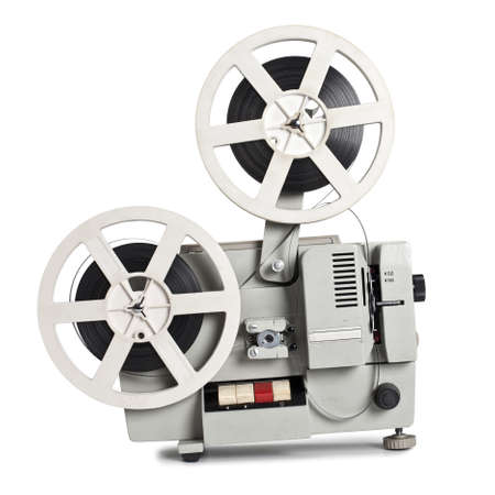 projection: Old film projector on a white background