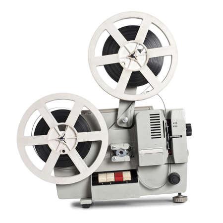 Oude filmprojector op een witte achtergrond Stockfoto