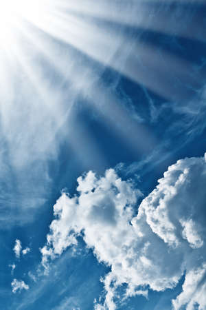 clean air: Blue sky with clouds and sun