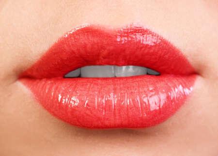 女性の唇をクローズ アップ。赤い色 写真素材