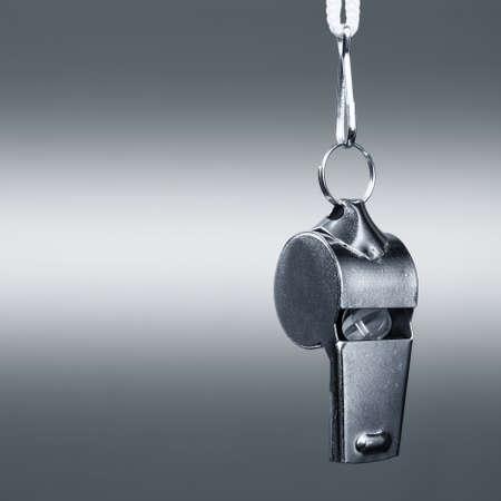 スポーツの金属笛のクローズ アップ 写真素材