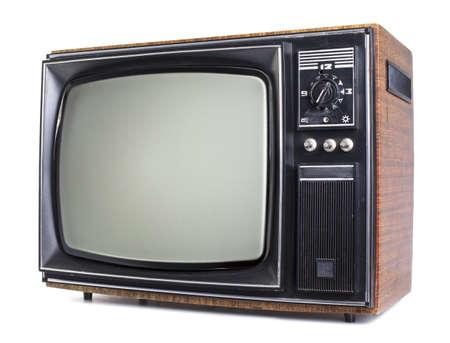 television antigua: El televisor viejo sobre el fondo blanco aislado