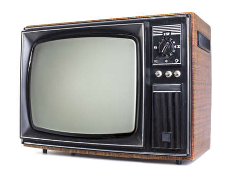 tv: The old TV on the isolated white background Stock Photo