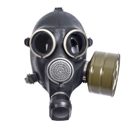 mascara de gas: máscara de gas aisladas sobre fondo blanco Foto de archivo