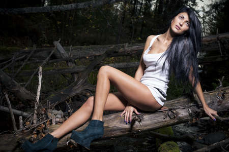 Beautiful brunette on a background autumn forest Stock Photo - 15656643