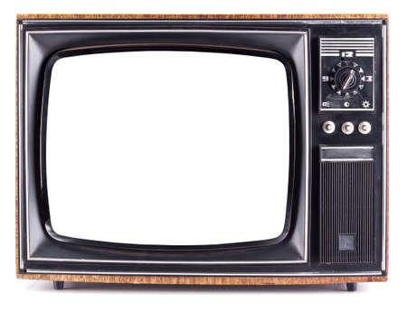 El televisor viejo en el fondo blanco aislado Foto de archivo