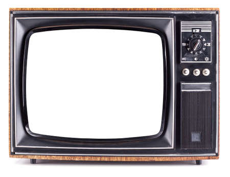 retro tv: The old TV on the isolated white background Stock Photo