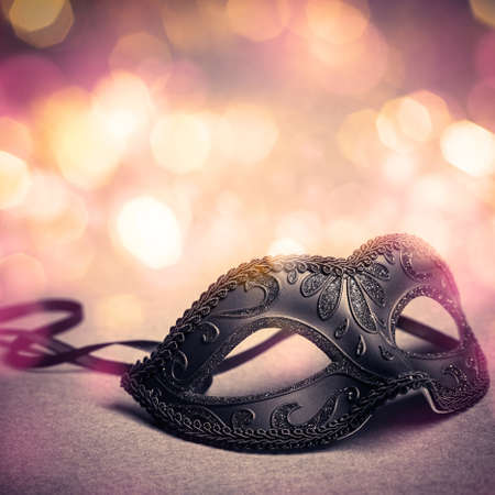 carnival mask: carnival mask over gold background Stock Photo