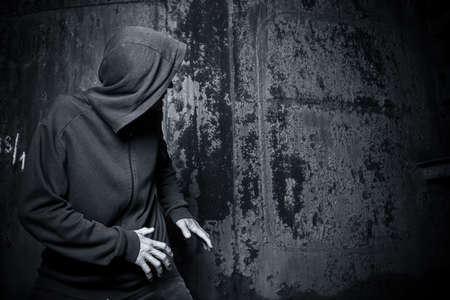 hooded shirt: Man in a hooded sweatshirt Stock Photo