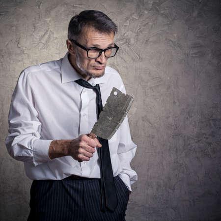 machete: A man with a machete in his hand