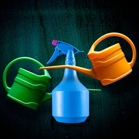 moisten: watering can or spray for watering flowers