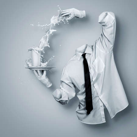 Invisible man and a glass of milk
