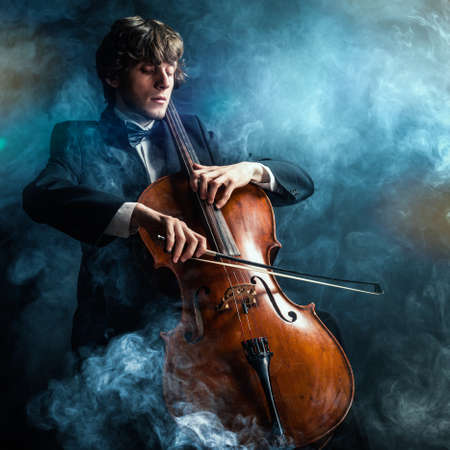 cellist in smoke