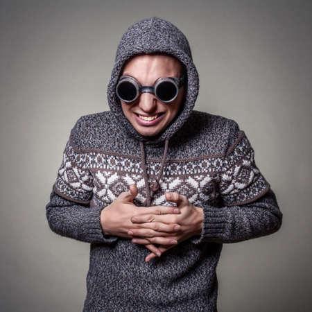 crazy guy: crazy guy in goggles