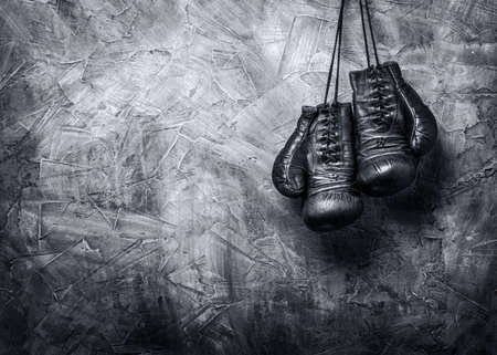 leather gloves: old boxing gloves Stock Photo
