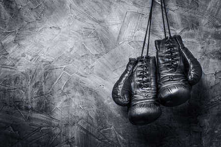 boxing sport: old boxing gloves Stock Photo