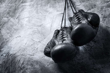 boxing gloves: old boxing gloves Stock Photo