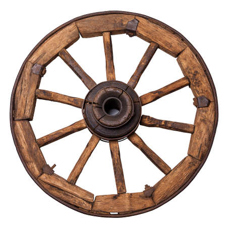 old wagon wheel on a white background