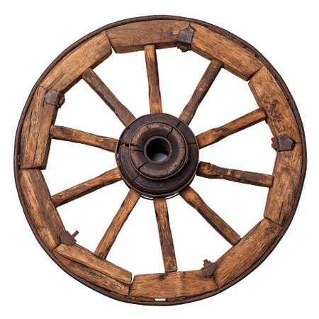 carreta madera: rueda de carro vieja en un fondo blanco Foto de archivo