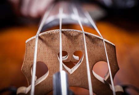 violoncello: corde violoncello primo piano Archivio Fotografico