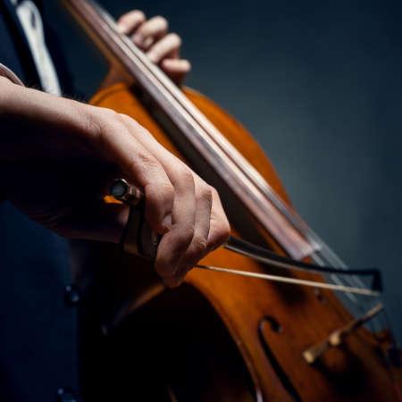 cellist: fiddlestick in hand cellist Stock Photo