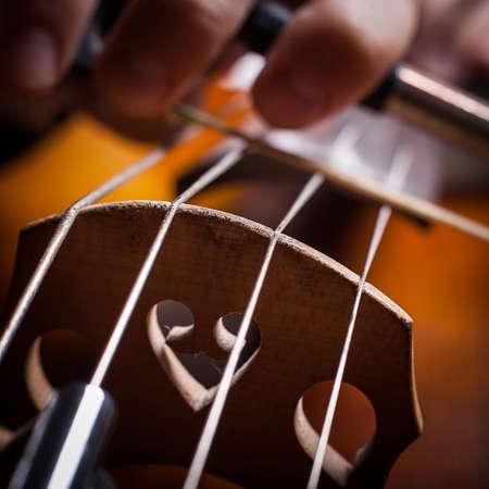fiddlestick: cello strings closeup