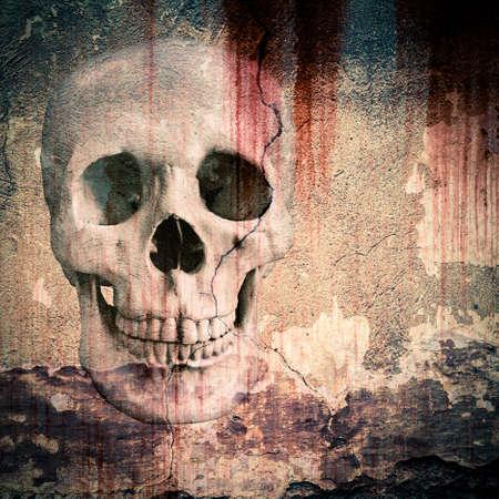 depicted: skull depicted in plastered walls