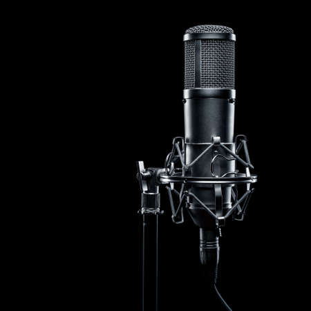 recording studio: studio microphone on a black background