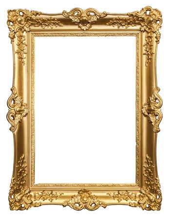 marco dorado tallado en un fondo blanco