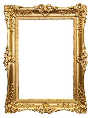 gilded: carved gilded frame on a white background