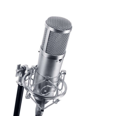 microphones: studio microphone on a  white background Stock Photo
