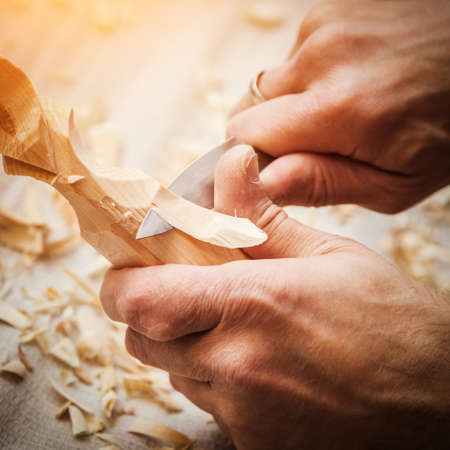 art and craft: hand woodcarver