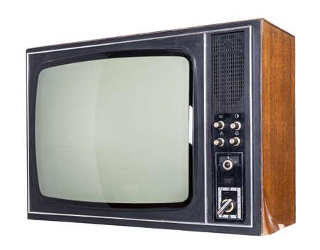 television antigua: El viejo TV sobre el fondo blanco aislado Foto de archivo