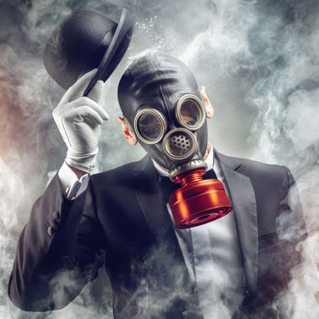 the gentleman in the gas mask photo