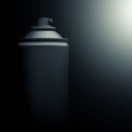 Spray can with spray paint on a black background Stock Photo